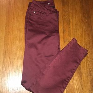 Maroon denim jeans